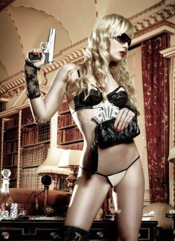 Agent Of Love Комплект бикини светло-бежевый с черными кружевными элементами и косточками ML (большое фото) > Интернет секс шоп Мир Оргазма