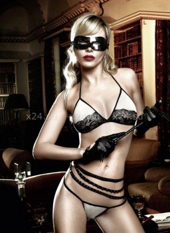 Agent Of Love Комплект бикини светло-бежевый с черным кружевом, фото 3