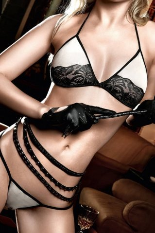 Agent Of Love Комплект бикини светло-бежевый с черным кружевом SM