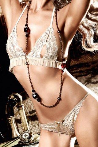Agent Of Love Комплект бикини светло-бежевый кружевной с рюшами