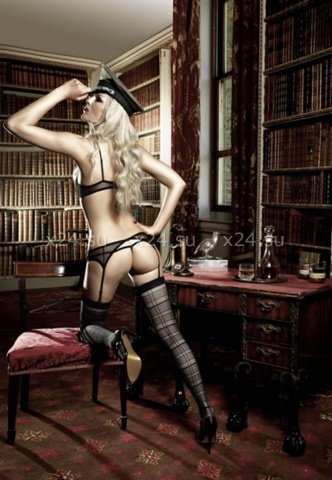 Agent Of Love Комплект бикини открытый топ черно-бежевый с подвязкой для чулков, фото 2