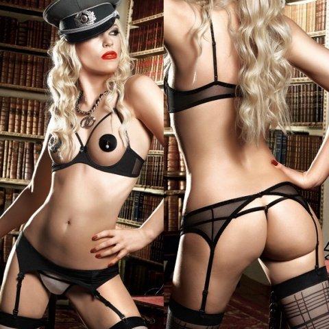 Agent Of Love Комплект бикини открытый топ черно-бежевый с подвязкой для чулков, фото 7