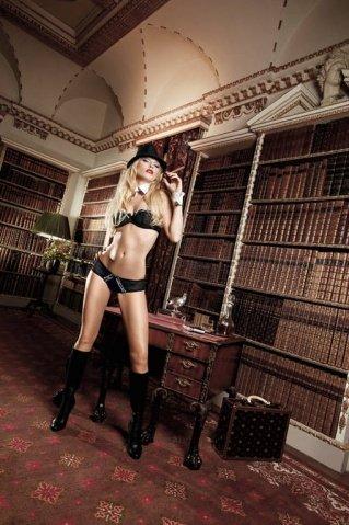 Agent Of Love Комплект бикини черныйс трусиками, косточками, белыми кружевными деталями и бантиком, фото 4