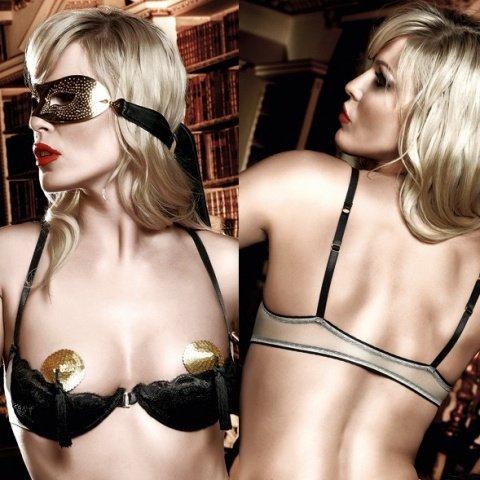 Agent Of Love Бюстгальтер светло-бежевый черными полумягкими чашечками и косточками (большое фото 3) > Секс шоп Мир Оргазма