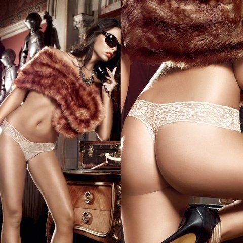 Agent Of Love G-Стринги бежевые из тюлевой ткани с узором в ромб и кружевными краями ML (большое фото 3) > Секс-шоп Мир Оргазма