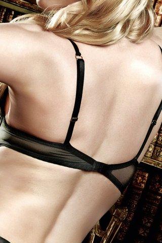 Agent Of Love Бюстгальтер черный кружевной с косточками мягкими чашечками и бантиком, фото 3