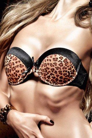 Beauty Inside The Beast Бюстгальтер черный с леопардовым узором, мягкими чашечками и косточками (большое фото) > Интернет секс шоп Мир Оргазма