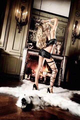 Beauty Inside The Beast Пеньюар черный сатиновый с передними застежками, кружевными кромками, фото 2
