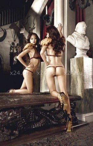 Beauty Inside The Beast Комплект бикини коричневый с металлическими кольцами, фото 4