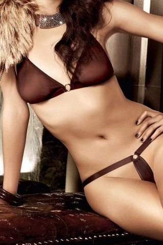 Beauty Inside The Beast Комплект бикини коричневый с металлическими кольцами, фото 2