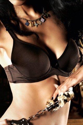 Beauty Inside The Beast Бюстгальтер коричневый с мягкими чашечками, косточками и бантиком, фото 2