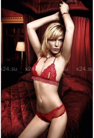 Have Fun Princess Комплект красный бикини из кружевного Бюстгальтера с завязками за шеей, фото 3