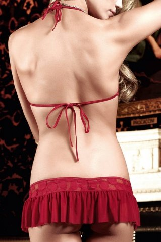 Have Fun Princess Комплект бордовый из юбочки и Бюстгальтера-триугольника в горошек, фото 4