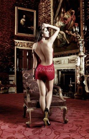 Have Fun Princess Платьице бордовое в горошек с завязками за шеей и шнуровкой спереди, фото 2