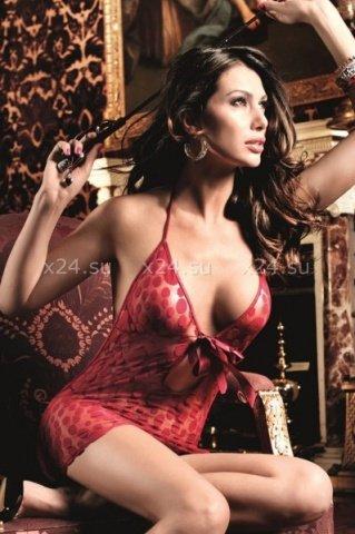 Have Fun Princess Платьице бордовое в горошек с завязками за шеей и шнуровкой спереди, фото 3