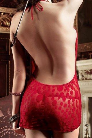 Have Fun Princess Платьице бордовое в горошек с завязками за шеей и шнуровкой спереди, фото 4