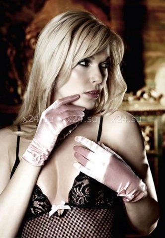 Have Fun Princess Перчатки светло-розовые из сатина с бантиками