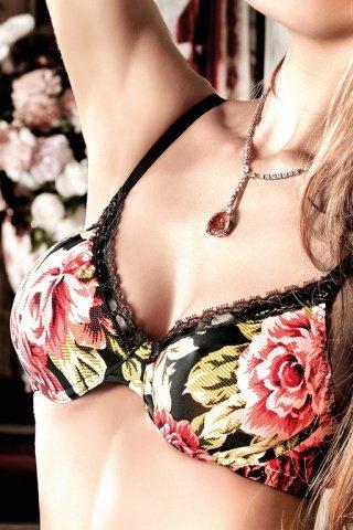 Dolce Vita Бюстгальтер черный с роскошным цветочным узором, черными кружевными краями
