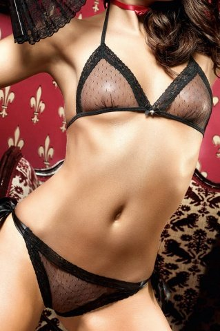Dolce Vita Комплект бикини черныйиз тюлевой ткани в точечку и кружевной кромкой, фото 3