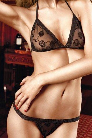 Dolce Vita Комплект бикини черныйс роскошной цветочной вышивкой и кружевной кромкой, фото 3