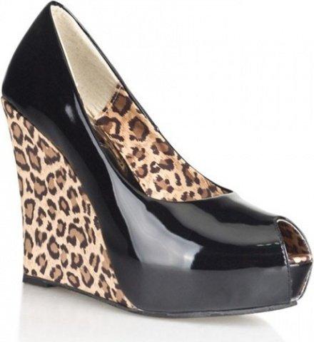 Блестящие туфли с леопардовой танкеткой 40