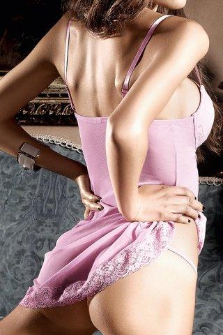 Dolce Vita Платьице розовое с кружевными аппликациями, косточками и мягкими чашечками, фото 3