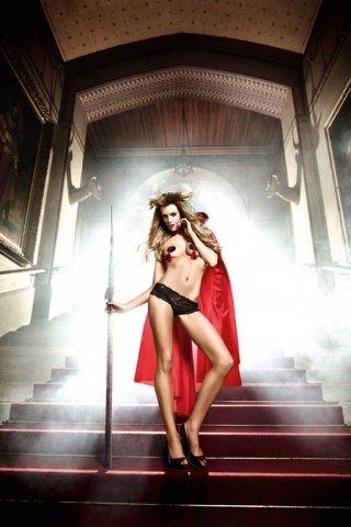 Костюм дьяволица: накидка красная с красивым огромным воротником из пайеток, фото 4