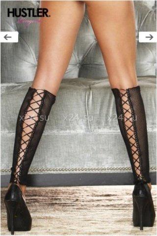 Сексуальные черные гетры со шнуровкой
