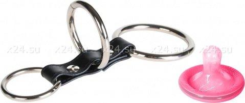 Хомут на пенис из трех металлических колец 3 ring gates of hell, фото 2