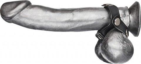 Кольцо на пенис с разделителем мошонки из искусственной кожи на клепках v-style cock ring, фото 3