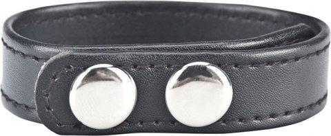 Кольцо на пенис из искусственной кожи на клепках (4-6 см) snap cock ring, фото 2