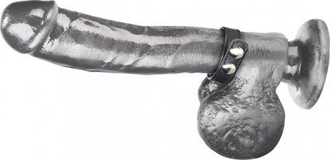 Кольцо на пенис из искусственной кожи на клепках (4-6 см) snap cock ring, фото 3
