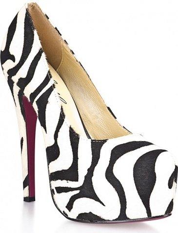 Туфли из искуственной шерсти зебры black&amp white 9