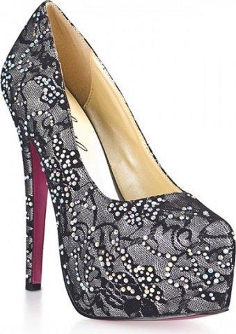 Гипюровые туфли с кристалами dark silver 9