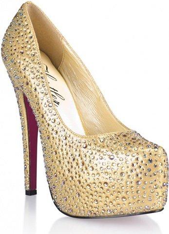 Золотистые туфли с кристаллами golden diamond 8
