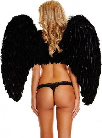 Большие черные крылья из натуральных перьев dark delight, фото 2