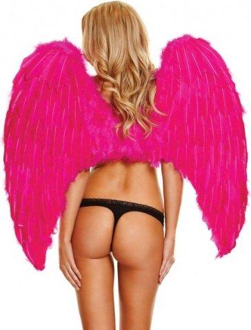 Большие розовые крылья из натуральных перьев fantasy dream, фото 2