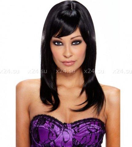 Черный парик со стильной укладкой seduction