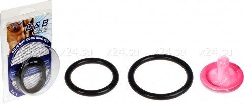 Набор из двух черных силиконовых колец разного диаметра silicone cock ring set, фото 2