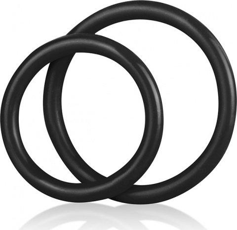 Набор из двух черных силиконовых колец разного диаметра silicone cock ring set, фото 4