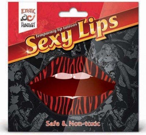 Lip tattoo тигровый красный, фото 3