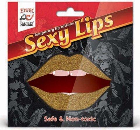 Lip tattoo золотой блеск, фото 3