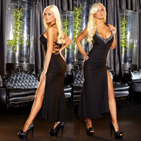 Вечернее черное платье вв полв с разрезом от Hustler