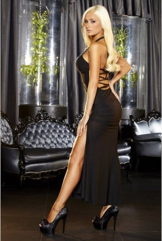 Вечернее черное платье вв полв с разрезом от Hustler, фото 3