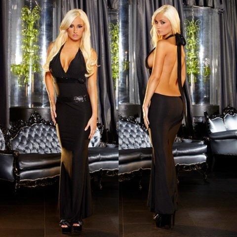 Вечернее черное платье вв полв с открытой спиной от Hustler