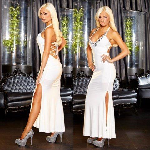 Вечернее белое платье вв полв с разрезом от Hustler