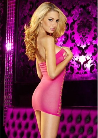 Облегающее платье из розовой сетки, фото 3