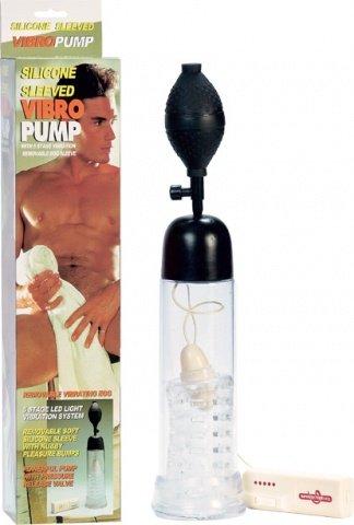 Помпа с вибратором и с силик вставкой (груша наверху) 20 см