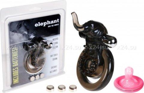 Кольцо эрекционное с минивибратором и подхватыванием мошонки `слоник, фото 2