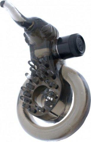 Кольцо эрекционное с минивибратором и подхватыванием мошонки `слоник, фото 3
